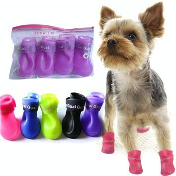Four season waterproof pet fashion shoes dog and cat's rain boots Rubber Anti Slip Ski