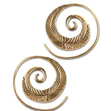 NEW! Leaf Spiral Earrings