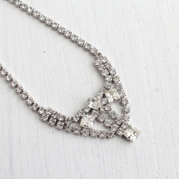 Vintage Clear Rhinestone Necklace - Mid Century 1950s Silver Tone Costume Jewelry / Faux Diamond Dangle