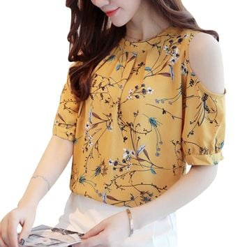 2018 Summer Cold Shoulder Chiffon Floral Printed Blouse Shirt Women Tops Elegant Plus Size Ladies Korea Blouses Blusas Female