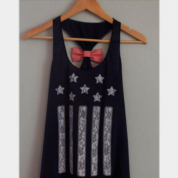 Fashion sexy back bowknot is the stars and stripes back vest