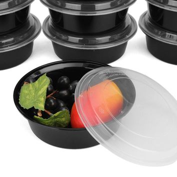 Plastic Lunchbox Set 10Pcs Food Storage Box Case Lids 900ml Round Meal Prep Containers