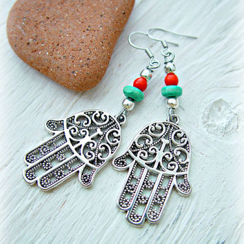 Hamsa Earrings - Boho Gypsy Earrings - Ethnic Earrings - Yoga Earrings - Hamsa Jewelry - Hippie Earrings - Boho Jewelry