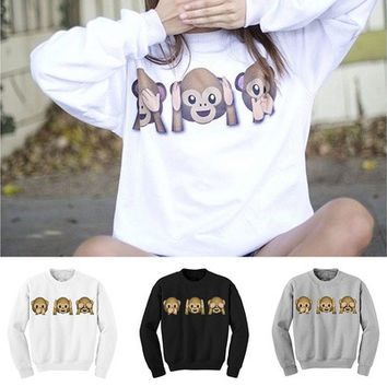 THREE WISE MONKEYS FABLE SEE HEAR SPEAK NO EVIL CUTE FUN KIDS SWEATSHIRT SWEATER [8045206535]
