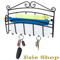 Wall Mount Letter Rack Key Holder Bill Organizer Storage Sturdy Steel Home Decor