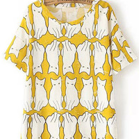 Yellow Short Sleeve Ripped Cat Print T-Shirt