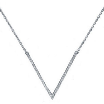 TALIANA // 18 Karat Plated & CZ Diamond Pave V Shape Chevron Necklace