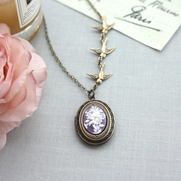 Flying Swallow Birds, Purple White Rose Flower Cameo, 3 Birds, BFF. Bridesmaids Gift, Wedding Bridal Wedding. Sister. Purple Rustic Wedding