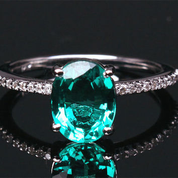6x8mm Lab Emerald Engagement ring White gold,Diamond wedding band,14k,Oval Cut Treated Emerald,Green Gemstone Promise Ring,Bridal Ring,Pave