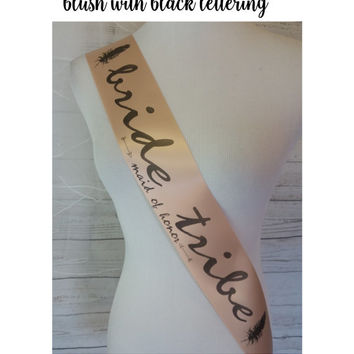 Bachelorette Sash, Trendy Blush Bridal Shower Sash for bride to be to wear at Bachelorette Party, Comes with a Rhinestone Pin