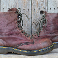 Vintage 90's Dusty Brick Red Doc Martins Steel Toe Combat Boots, Mens 9