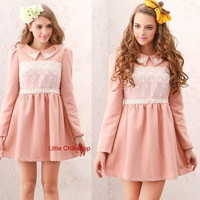 Japan Style Kawaii Princess Cute Sweet Dolly Elegant Winter Thick Dress Pink