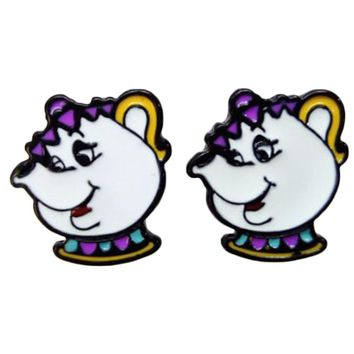 New 1 Pair Anime Beauty And Beast Mrs Potts And Chip Cup Earrings Cosplay Decoration Women Earrings