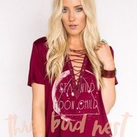 Stay Wild Moon Child Lace Up Tee