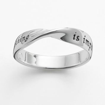 Sterling Silver ''Nothing is Impossible'' Twist Ring (Grey)