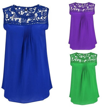 Womans New Summer Plus Size Water Soluble Lace Stitching Hollow Chiffon Vest S-5XL [8805130631]