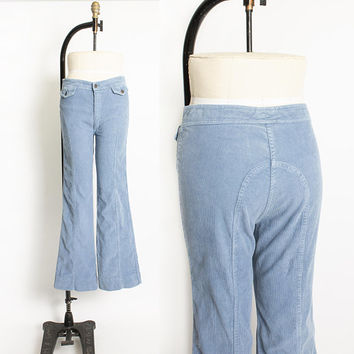 Vintage 1970s Bell Bottom Cords - Blue Corduroy High Wasted Bells Jeans 70s - Medium