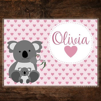 Large Personalized Placemat - Kids Placemat - Childrens Placemat - Koalas - Australian Animals - Place Mat Children - Kids Gift