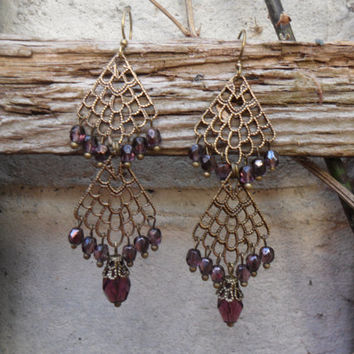 Two tier chandelier earrings, ox brass filigree,  purple Czech glass beads, nomad earrings, boho earrings, belly dancing, statement earrings
