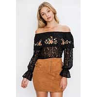 Flying Tomato Sexy Lace Embroidery Blouse - Black