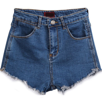Blue Pockets Fringed Denim Shorts