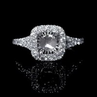 .39ct Diamond 18k White Gold Split Shank Halo Engagement Ring Setting
