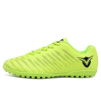 New Football Boots Indoor For Men Artificial Turf For Football Blue Green Soccer Shoes Men Leather Sport Trainers