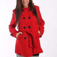 The Charlie Pea Coat, Red