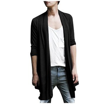 Men Shawl Collar High-Low Hem Long Cardigan Black S