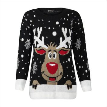 Women Christmas Deer Warm Knitted Sweaters Long Sleeve Knitted Sweater Ugly Christmas Jumper Top O-Neck Casual Sweaters