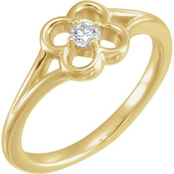 14K Yellow Gold Round Genuine Diamond Flower Youth Ring