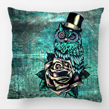 Teal Tattoo Style Sugar Skull Owl With Hat Throw Pillow Case Decorative Cushion Cover Pillowcase Customize Gift For Sofa Seat