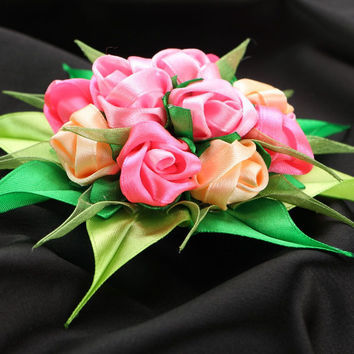 "Satin ribbon hair clip ""Bouquet of Roses"""