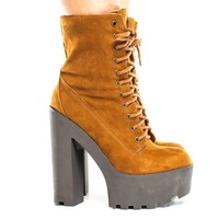 Johnny08 By Bamboo, Lace Up Faux Shearling Lining Lug Sole Platform High Heel Boot