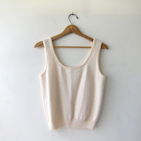 Vintage Cream Knit Tank Top. Sleeveless Sweater Top. Cropped Knit Shirt. Simple Boho Modern Chic. Small