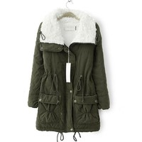 Zeagoo Winter Parka Fur Collar Thick Padded Long Coat Outerwear Jacket