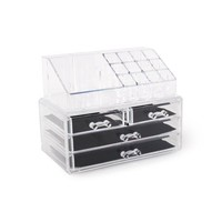 ForHauz Acrylic Jewelry Cosmetics Organizer Two-Piece Set 4-Drawer Makeup Box Nail Polish Holder For Countertop Storage - Walmart.com