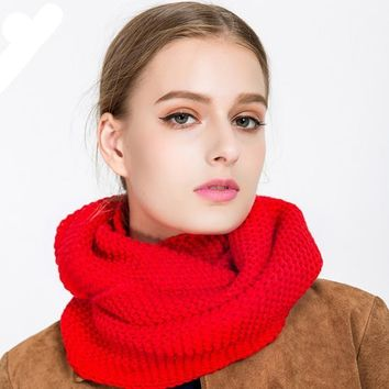 Feitong Solid Ring Scarf Women Woolen Winter Warm Cashmere Knitted Imitation Collar Shawl Soft Tube Kerchief Neck Circle Scarf