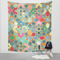 Gilt & Glory - Colorful Moroccan Mosaic Wall Tapestry by Micklyn