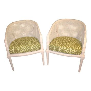 Pre-owned Vintage Off White Faux Bamboo Chairs - A Pair