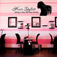 Wall Decal Vinyl Sticker DecalsDecor Hair Salon Hairdresser Beauty Hair stylist bring color to the world Bedroom Fashion Cosmetic (r1334)