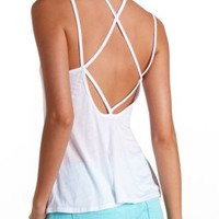 Strappy Open Back Sheer Swing Tank Top by Charlotte Russe - White
