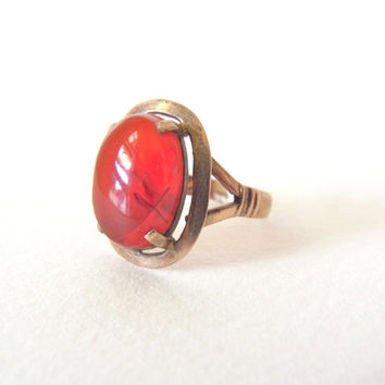 vintage stone ring / antique stone ring / vintage ring antique ring / rose gold tone