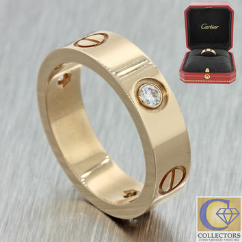 Authentic Cartier 18k Yellow Gold Love 3 Diamond Band Ring 56 US 7.5 w/Box