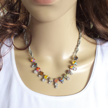 AUTUMN RAINBOW SHIMMER, swarovski necklace, chain necklace, fall colors, shimmer stones, crystal shimmer, 8mm, stunning, dksjewelrydesigns