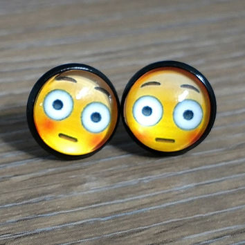 Emoji earrings-  Flushed face- in black earrings