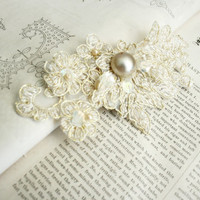 bridal lace hair clip - FOREVER YOURS - bridal fascinator - bridal hair - wedding - ivory - champagne