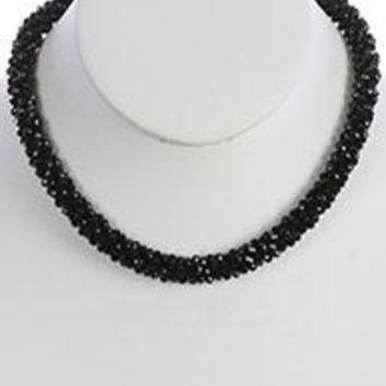 Black Iridescent Micro Bead Crocheted Rope Necklace