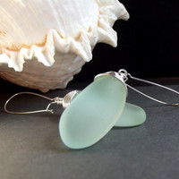 Aqua Long Drop Earrings:  Seafoam Green Faux Sea Glass Freeform Nautical Earrings, Fine Silver Wire Wrapped Beach Jewelry