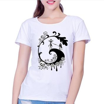 yiwuliming Corpse Bride Pattern Printed T shirt Women New brand clothing Casual Gothic Nightmare Before christmas women tee tops